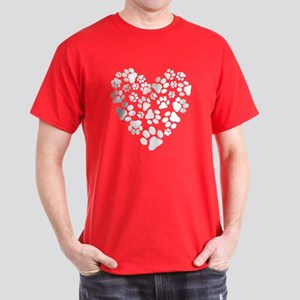 Dog Paw Prints Heart Dark T-Shirt