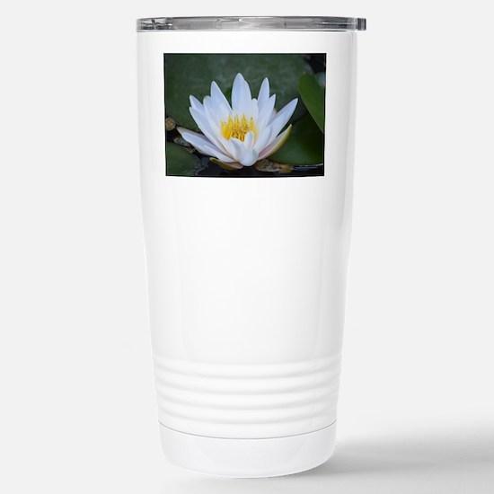 White Lotus Flower Stainless Steel Travel Mug