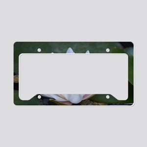 White Lotus Flower License Plate Holder