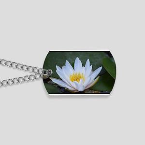 White Lotus Flower Dog Tags
