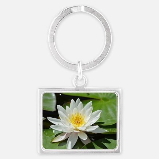 White Lotus Flower Landscape Keychain