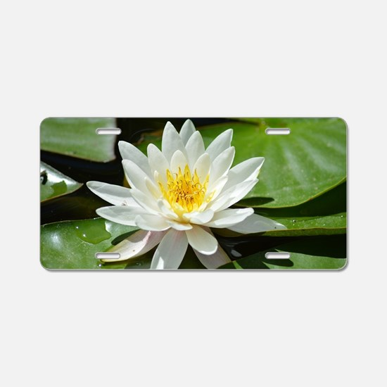 White Lotus Flower Aluminum License Plate