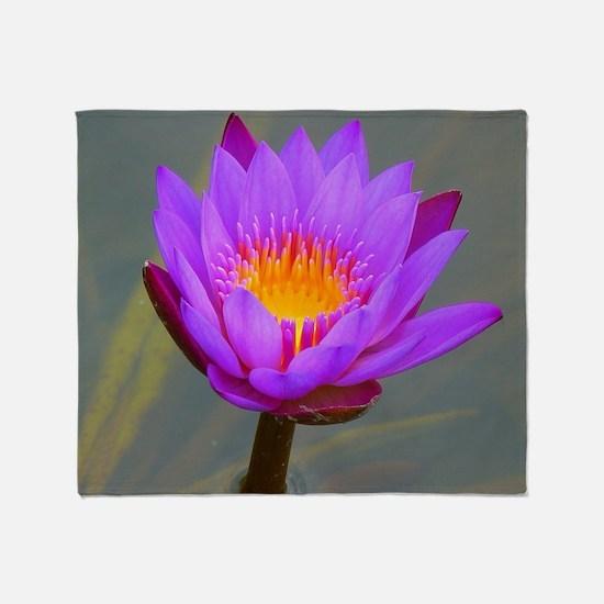 Purple Lotus Flower Throw Blanket