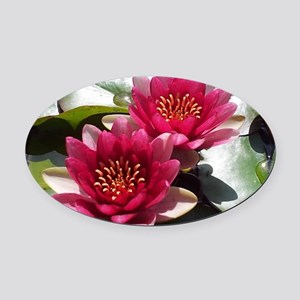 Red Lotus Flower Oval Car Magnet