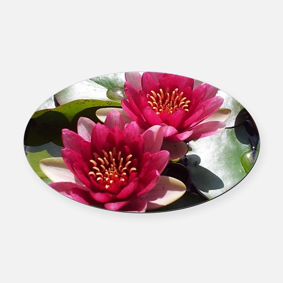Red Lotus Flower Oval Car Magnet