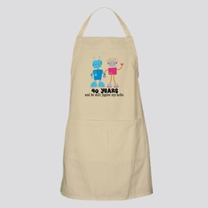 40 Year Anniversary Robot Couple Apron