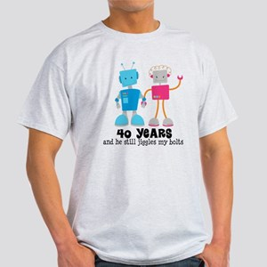 40 Year Anniversary Robot Couple Light T-Shirt