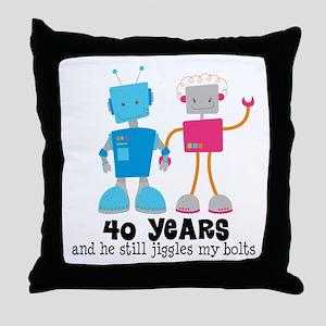 40 Year Anniversary Robot Couple Throw Pillow