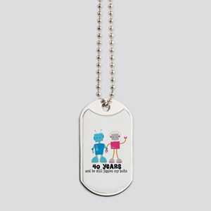 40 Year Anniversary Robot Couple Dog Tags
