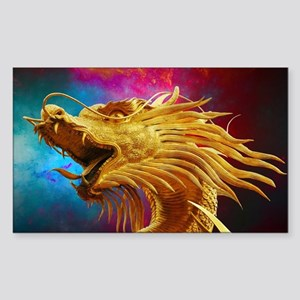 Golden Dragon Sticker (Rectangle)