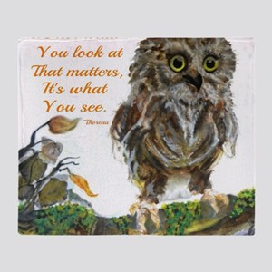 Watercolor of Wise Baby Owl Throw Blanket