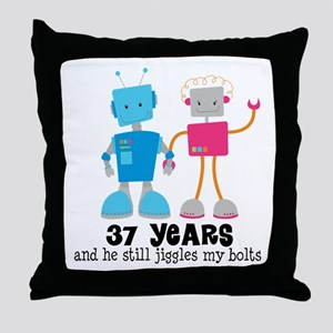 37 Year Anniversary Robot Couple Throw Pillow