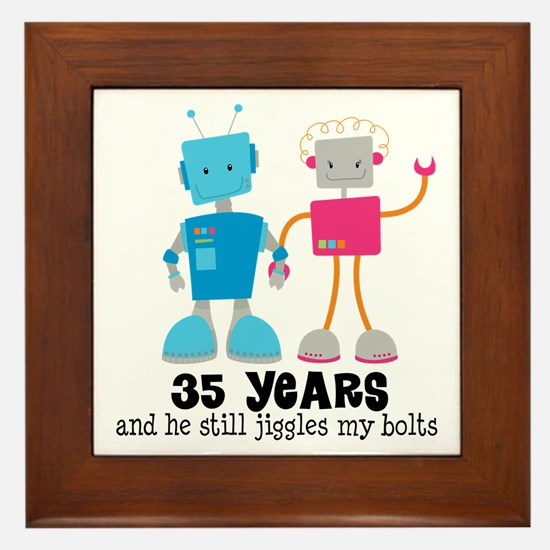 35 Year Anniversary Robot Couple Framed Tile