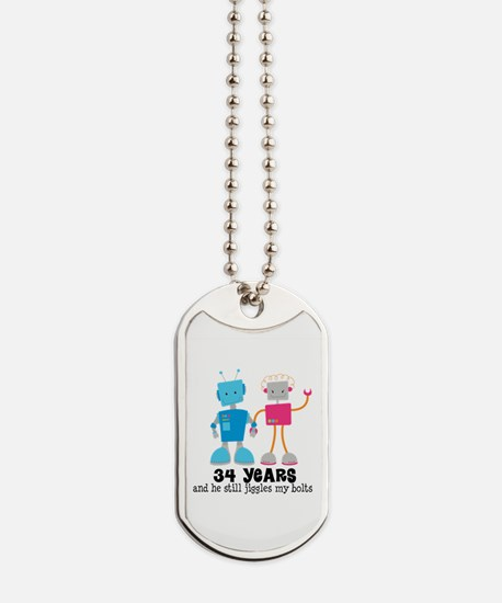 34 Year Anniversary Robot Couple Dog Tags