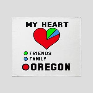 My Heart Friends, Family Oregon Throw Blanket