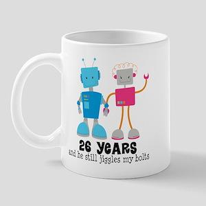 26 Year Anniversary Robot Couple Mug