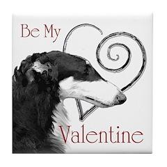 Borzoi Valentine Tile Coaster