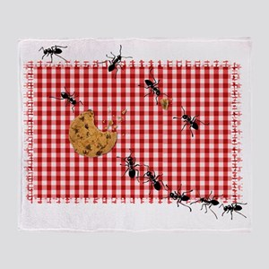 Ant Picnic on Red Checkered Cloth Throw Blanket