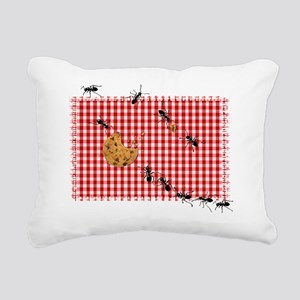 Ant Picnic on Red Checke Rectangular Canvas Pillow
