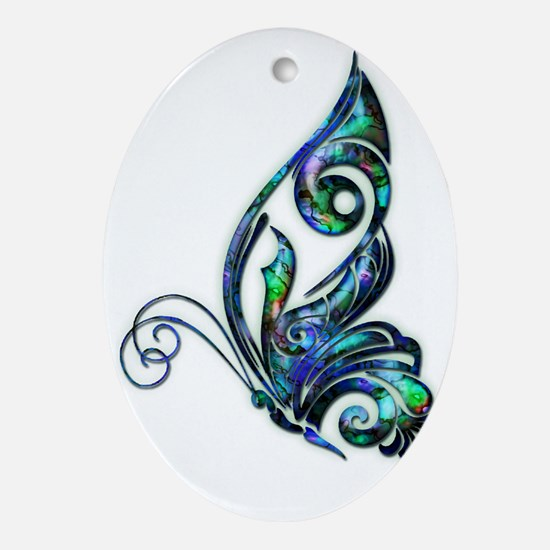 Abalone Shell Art Deco Butterfly Oval Ornament