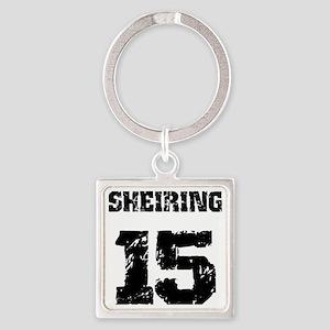 black SHEIRING 15, distress Square Keychain