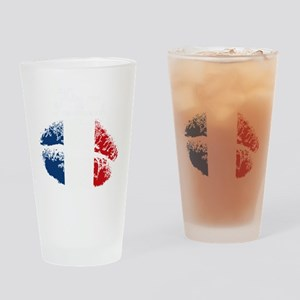 Kiss Me. Im French Drinking Glass