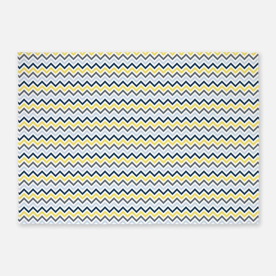 Blue, Yellow and White Chevron 5'x7'Area Rug