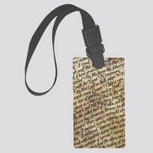 Poe Raven Text Pattern Large Luggage Tag
