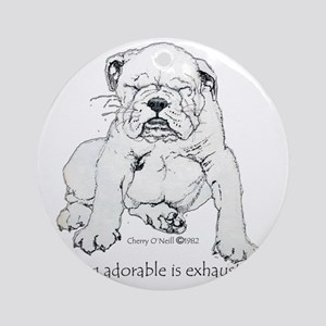 Bulldog Puppy Round Ornament