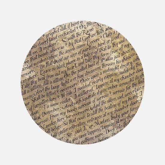"""Poe Raven Text Pattern 3.5"""" Button"""