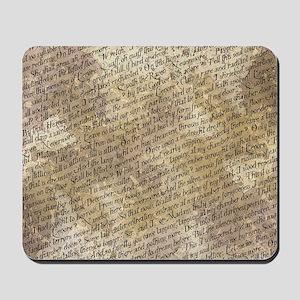 Poe Raven Text Pattern Mousepad