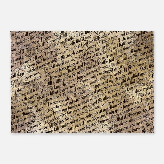 Poe Raven Text Pattern 5'x7'Area Rug