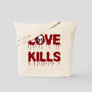 Love Kills Skull Tote Bag