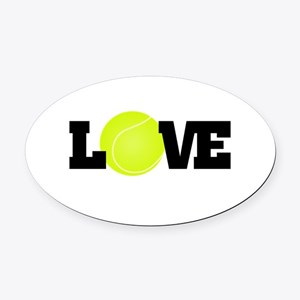 Tennis Love Oval Car Magnet