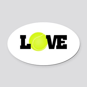 Tennis Love Oval Car Magnet