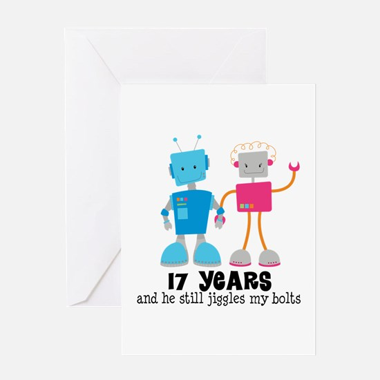 17 Year Anniversary Robot Couple Greeting Card