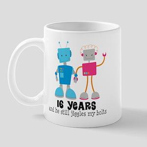 16 Year Anniversary Robot Couple Mug
