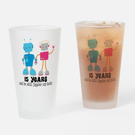 15 Year Anniversary Robot Couple Drinking Glass