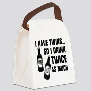 DRINK TWICE AS MUCH Canvas Lunch Bag