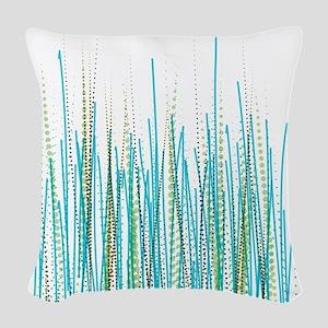 Blue-Green Halftone Chaos Woven Throw Pillow