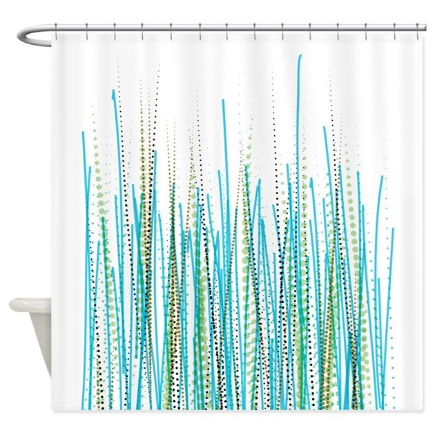 blue green halftone chaos shower curtain by domestikgoddess. Black Bedroom Furniture Sets. Home Design Ideas