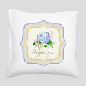 Blue Hydrangea Dragonfly Shabby Chic Floral Square