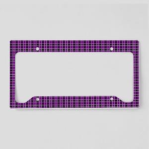 Purple Tartan Pattern License Plate Holder