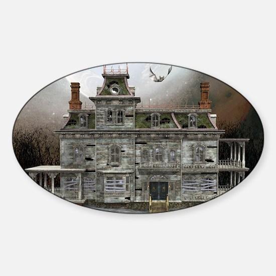 Halloween House Sticker (Oval)