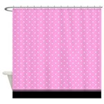 Pink And White Dots With Black Trim Shower Curtain