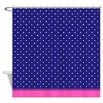 Blue And White Dots With Pink Trim Shower Curtain