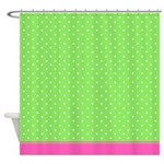 Green And White Dots With Pink Trim Shower Curtain