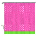 Pink And White Dots With Green Trim Shower Curtain