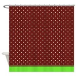 Brown And White Dots Green Trim Shower Curtain