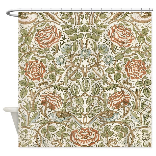 William Morris Rose Shower Curtain by FineArtDesigns